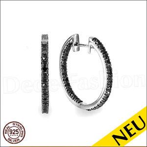 NEU 🌸 CREOLEN 925 Sterling Silber OHRRINGE Schwarz SPINELL Rhodiniert 🌸 LUXUS