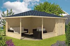 5-Eck Gartenlaube Maik-40 mit Anbau Holz 400x570 cm 40 mm Gartenhaus Pavillon