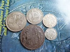 pre 1947 .500 british silver coins  h/crown florin shilling 6d 3d  gv nice l2