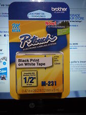 """Brother M231 P-Touch Label Tape Ptouch 1/2"""" M-231  M 231 ORIGINAL OEM NIB SEALED"""