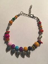 New Tibet silver AND RED AND MULTI-COLOR beadS WITH LEAVES BRACELET-B404