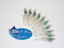 10 IMMITATION SHRIMP HOOK IN READY RIGGED FLOUNDER DRUM BAIT LURES SILVER  LARGE