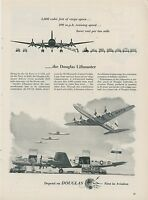 1953 Douglas Airplane Ad Air Force C-118A Navy R6D Liftmaster DC-6A Cargo Plane