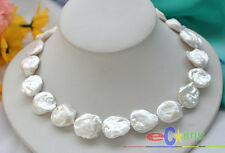 """p3146 HUGE 17"""" 20mm baroque coin white freshwater cultured PEARL NECKLACE"""