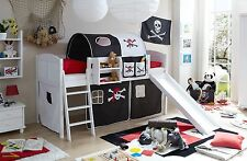 Lit mezzanine avec toboggan EKKI Pin massif teinté blanc tissus Pirate Noir-Blan