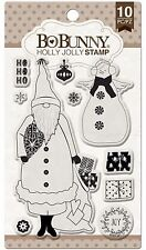 Holly Jolly Christmas, Clear Unmounted Rubber Stamps Set BOBUNNY New 12105768