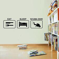 Eat Sleep Scuba Diving Wall Sticker Vinyl Decal Decors Art Scuba Diving Sticker