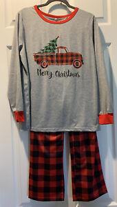 Boys Lounge Pajama Pants and Merry Christmas Top size 14/16 XL red/black plaid