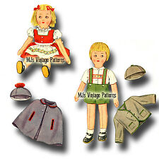 Vintage Swiss Boy & Girl Stuffed Cloth International Dolls Pattern
