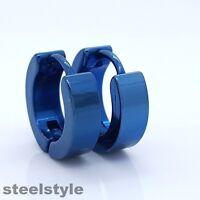 EARRINGS STAINLESS STEEL 316 L HUGGIE HOOP BLUE COLOR MENS WOMENS 1 PAIR