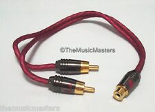 "NAK Premium Metal Head RCA Audio ""Y"" Cable Adapter Splitter 1 Female to 2 Male"