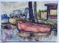 Boot am Ufer Expressiv 1964 Kollmarsreute ? Anonym