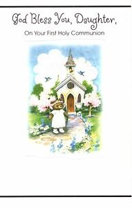 For A Special Daughter First Holy Communion Brown Bear At Church Greeting Card