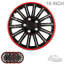 NEW 16 INCH BLACK W RED TRIM WHEEL RIM HUBCAPS COVER LUG SKIN SET FOR TOYOTA 527