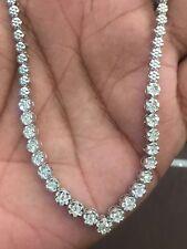 Pave 1,90 Cts Runde Brilliant Cut Natürliche Diamanten Halskette In 14K Weißgold