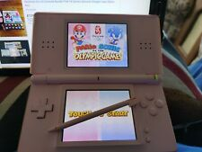 Nintendo DS Lite Pink Handheld Console Case stylus Plus 10 Game Bundle Used