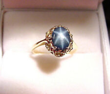 RICH BLUE GENUINE NATURAL STAR SAPPHIRE 1.37 CTS VINTAGE 10K GOLD RING