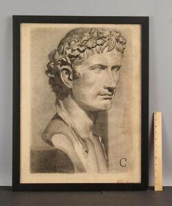 ELANOR COLBURN Charcoal Drawing Ancient Roman Caesar Marble Bust Sculpture