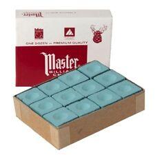 Box of MASTER pool cue tip Billiard CHALK - One Dozen GREEN Cubes