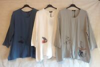 """NEW ITALIAN LAGENLOOK 3/4 SLEEVES 100% COTTON 1 POCKET FLORAL TUNIC TOP  48"""""""