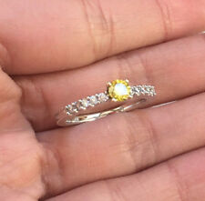 14k Gold Fancy Yellow Diamond Wedding Engagement Antique Vintage Style Ring