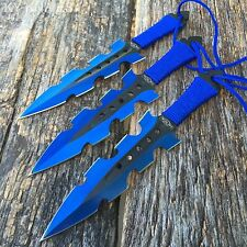 "3Pc 7.5"" Ninja Tactical Combat Blue Kunai Throwing Knife Set w/Sheath Hunting"