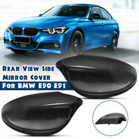 Carbon Fiber Look Door Side Rearview Mirror Cover Cap For BMW E90 E91