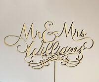 Mr & Mrs Personalised Wedding Cake Topper Wooden Decoration Carved Wood Set of 2