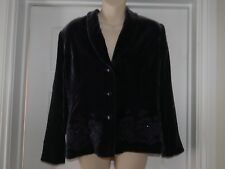 Ladies Purple Eastex Crushed Velvet Jacket with Bead Flower Embroidery Size 12