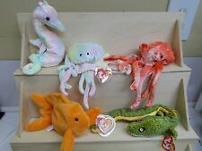 KW-81 5 sea life TY BEANIE BABY Neon Goochy Wiggly Morrie Goldie