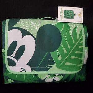 "Disney Mickey Mouse Tropical Picnic Blanket 70""x80"" Green Summer Fun Portable"