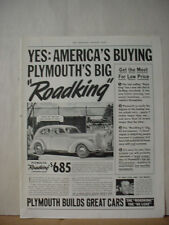 1938 Plymouth Road King 5 Pass. Sedan Car Vintage Print Ad 090