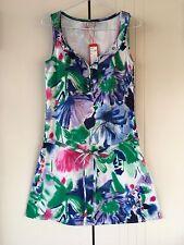 Womens Esprit Sketch & Multi Colour Print Frill Detail Sleeveless Dress Size 8