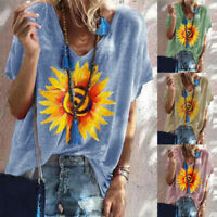 Plus Size Women Short Sleeve Sunflower V-Neck Tops T-Shirt Loose Casual Blouse