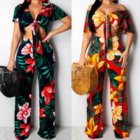 New Fashion Women Crop Tops Stretch Wide Leg Trousers Two Piece Co-ord Suit Set