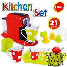 COFFEE MAKER EDUCATIONAL 21PC SOUND KITCHEN CHILDREN KIDS PRETEND PLAY TOY GIFT