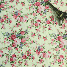 150cm Wide Cream White Pink Small Rose Print Floral Print Cotton Poplin Fabric