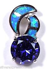 2.75 Ct Tanzanita & Azul Ópalo De Fuego Incrustación Plata de ley 925