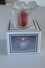 GLASS FLOWER CANDLE HOLDER & SCENTED CANDLE. NEW . BOXED