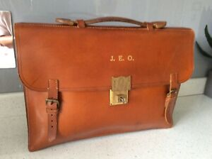 Vintage Leather Document Holder Briefcase Satchel  Bag + key by Rawlings Bros