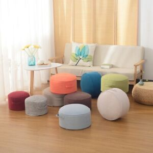 "16"" Chair Cushion Round Indoor Outdoor Garden Patio Footstool Pouf Ottomans"