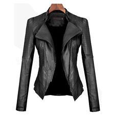 Women Biker Motorcycle ZIPPER up Soft PU Leather Cropped Slim Jacket Short Coat 2xl ( UK Size 14 )
