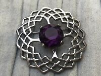 Celtic Brooch Silver Tone Purple Glass Jem 74 Scottish Vintage Costume Jewellery