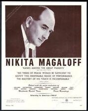 1960 Nikita Magaloff photo piano recital tour booking trade print ad