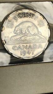 1947 Dot Canada Nickel 5 Cent .