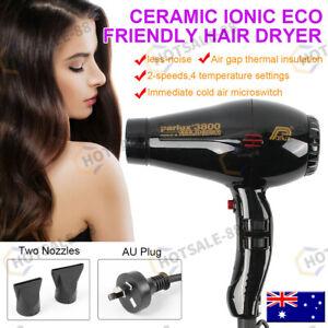 Ionic+Ceramic Professional Hair Dryer + 2 Nozzles BLACK AU Stock FOR Parlux 3800