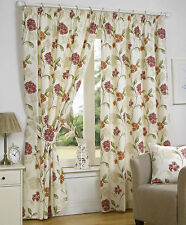 Bouquet Pink Fully Lined Readymade Curtain Pair 46x54in 116x137cm