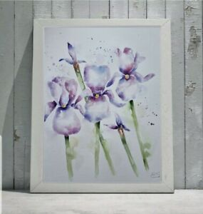 New Elle Smith large original signed watercolour art painting of Bearded Iris