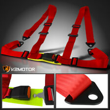 Universal JDM 4 Point Red Strap Seat Belt Racing Safety Harness Buckle 4Pt
