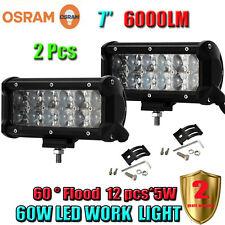 2 Pcs 7Inch 60W OSRAM Led Flood Work Light Bar 4WD ATV SUV Off-road Car Truck